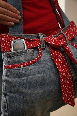 Recycle an old pair of jeans into a funky bag with this tutorial by Stefi Luca. Use a bright fabric like the red fabric pictured for the lining and embellishments.  http://www.favecrafts.com/Sewn-Bags/Funky-Jeans-Bag/ml/1