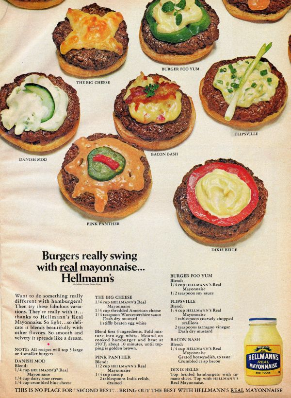 Hellmann's Mayonnaise Ad with recipe ideas - 1968From the June, 1968 issue of Family Circle