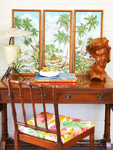 Writer's Desk: Rattan Chairs, Vintage Hawaiian, Bamboo Chairs, Writers Desks, Vintage Tropical, Antiques Chairs, Vintage Beaches, Beaches Houses, Tropical Artworks