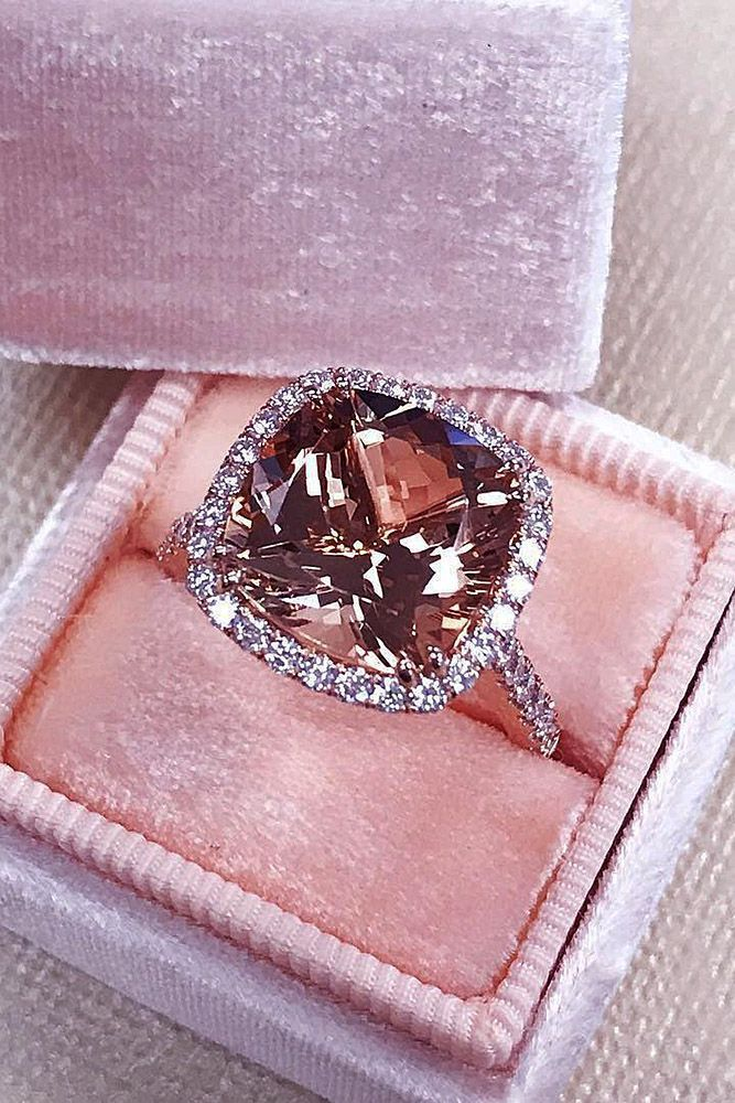 27 Cushion Cut Engagement Rings Which Give A Super Shine ❤️ cushion cut engagement rings morganite halo pave band rose gold ❤️ More on the blog: https://ohsoperfectproposal.com/cushion-cut-engagement-rings/
