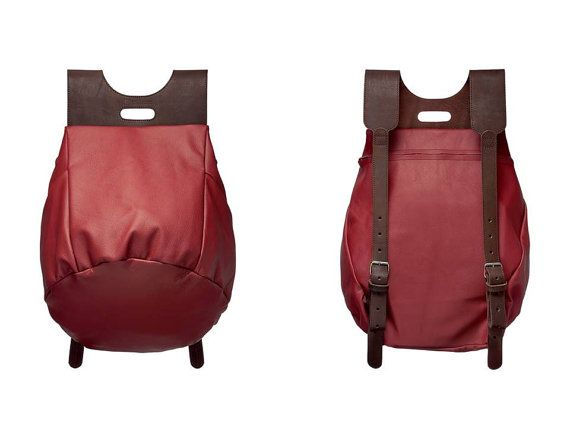 Red & Brown backpack by Pleathure by PleathureForPleasure on Etsy