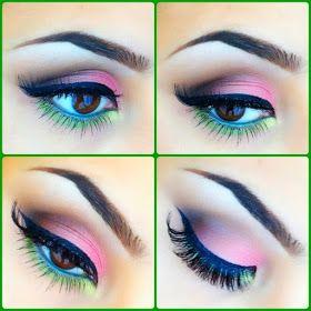 Värikäs pääsiäis- tai vappusilmämeikki. | Colourful eye makeup for easter and spring