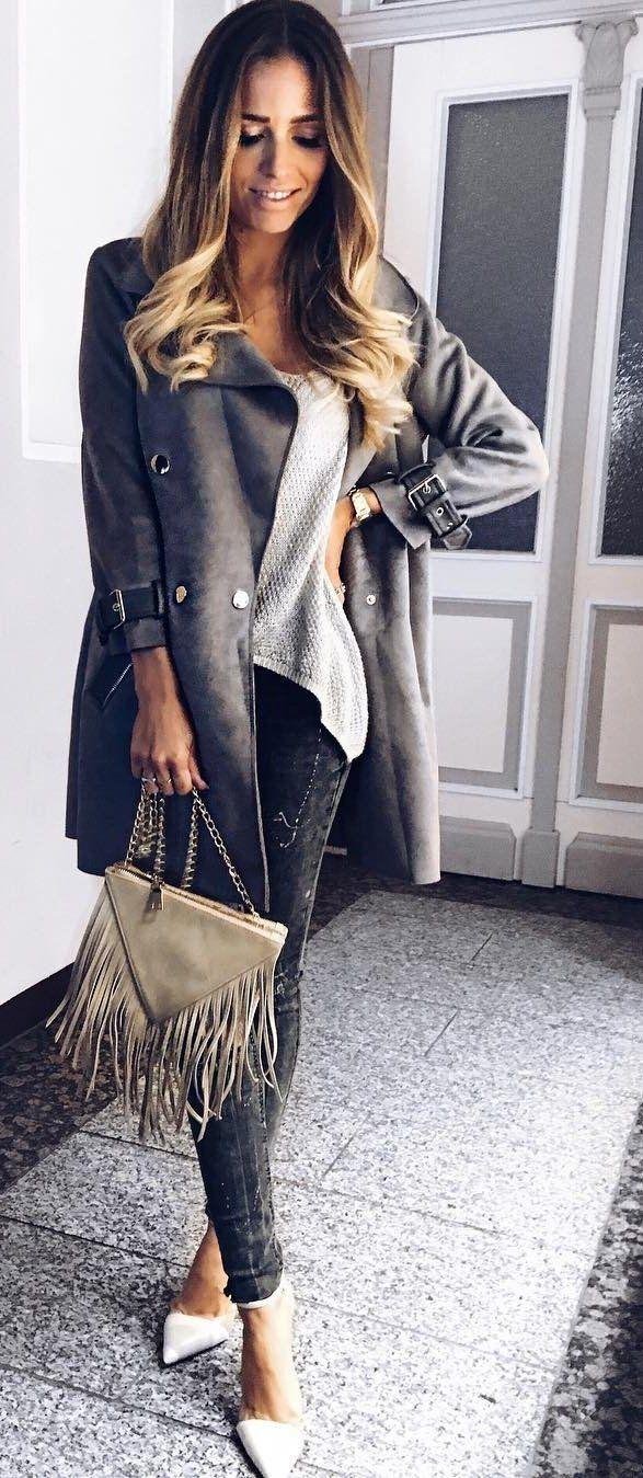 #fall #outfits ·  Grey Coat + Dark Jeans + Heels
