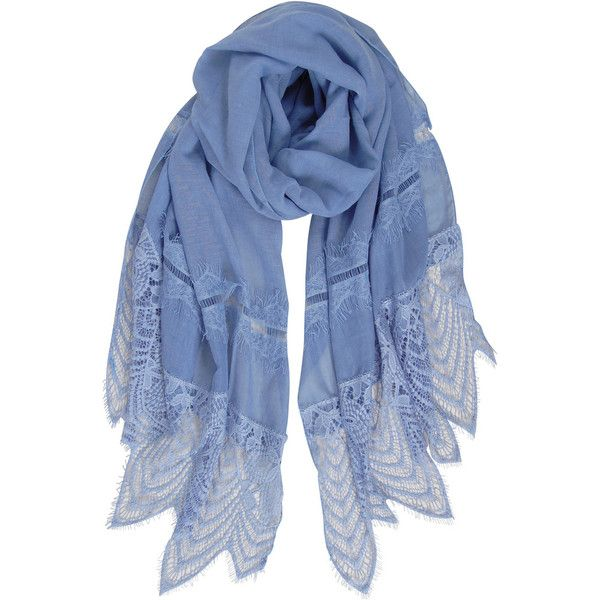Humble Chic NY Eyelash Lace Scarf (34 NZD) ❤ liked on Polyvore featuring accessories, scarves, blue, blue scarves, lace scarves, lightweight scarves, fringe scarves and lacy shawl