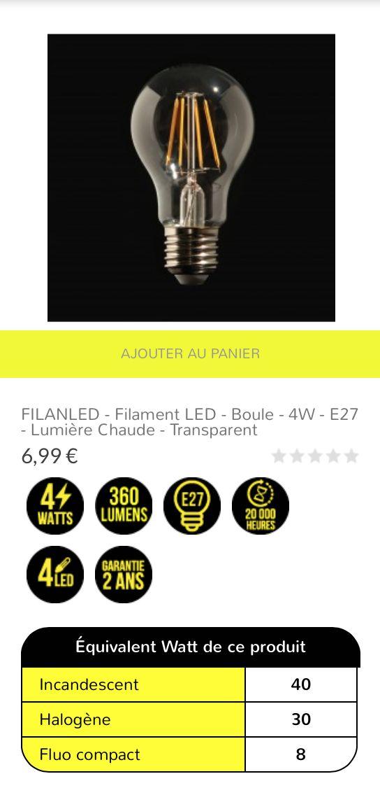 FILANLED - #Filament LED - Boule - 4W - E27 - #lumière chaude - transparent 6,99 €  #Ampoule #LED filament sous verre transparent avec culot traditionnel E27 à visser. Idéale pour une luminosité chaude instantanée à l'allumage. Cette ampoule est composée de 4 LED Sapphire disposés pour fournir un faisceau de lumière à 360°. Le rendu lumineux équivaut à une puissance de 30/40W halogène/incandescent pour une consommation de 4W.