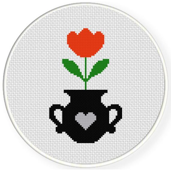 Charts Club Members Only: Potted Tulip Cross Stitch Pattern