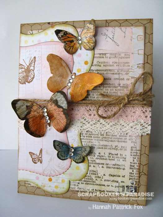 Beautiful Butterfly Card...with twine & lace.