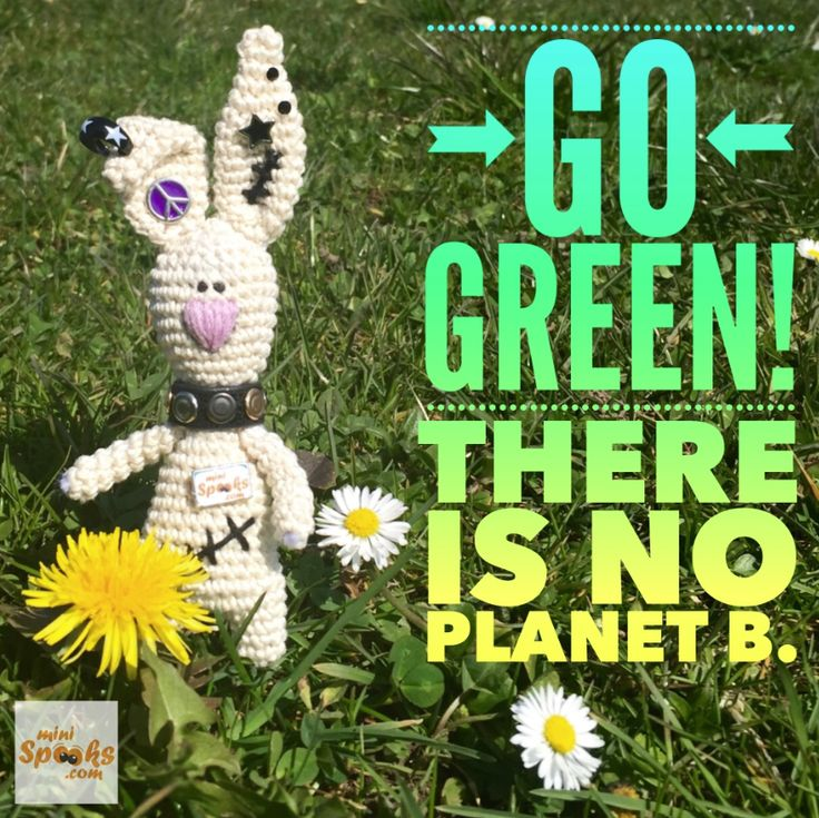 Go Green! There is no Planet B. ‪#‎minispooks‬ ‪#‎crochet‬ ‪#‎amigurumi‬ ‪#‎quote‬ ‪#‎rabbit‬ ‪#‎green‬ ‪#‎planet‬ ‪#‎planb‬ ‪#‎gogreen‬