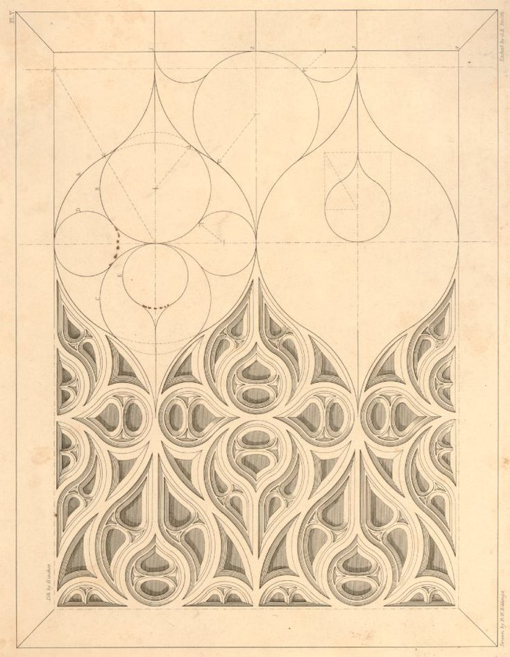 Diagram showing a section of gothic tracery on the left half of the sheet, the right demonstrating the underlying geometry of such a design; after Robert William Billings, plate V from an unidentifed publication.  1840-1851 Etching