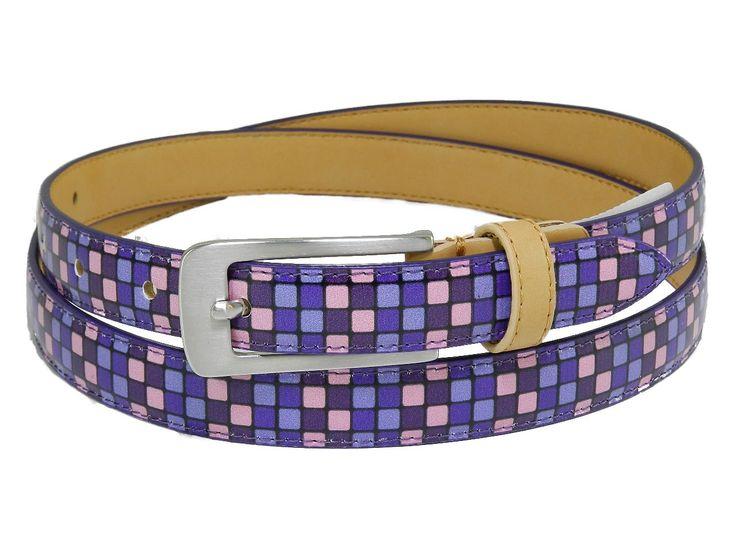 Cintura donna Paul Meccanico fantasia scacchi colori viola e rosa.