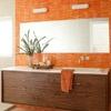 love this cheerful orange bathroom