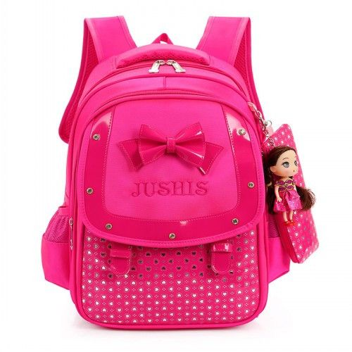 Adorable Girl's Fashion Butterfly Bowknot Durable Backpack w/Free Doll 4 Colors
