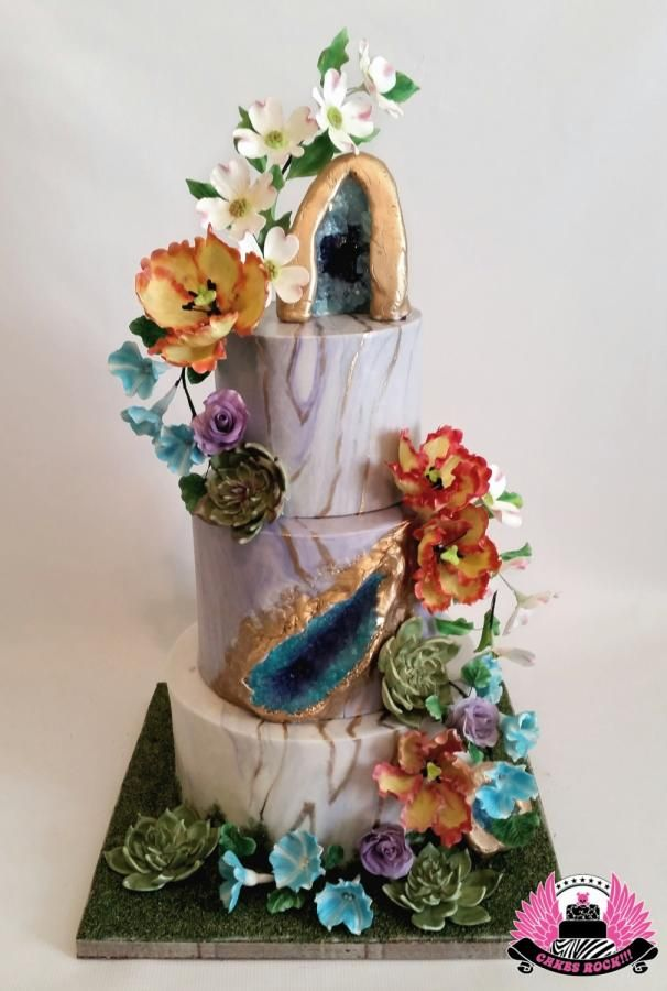 Geodes and Flowers - Cake by Cakes ROCK!!!