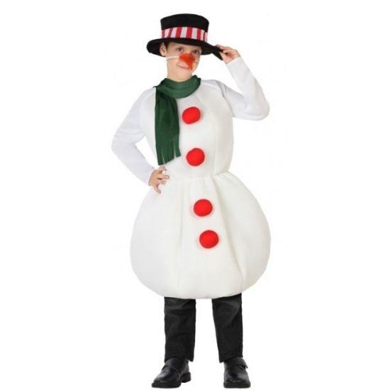 Sneeuwpop outfit voor kinderen. Sneeuwpop pak inclusief wortel neus, hoed en sjaal. Dit kostuum is gemaakt van polyester.