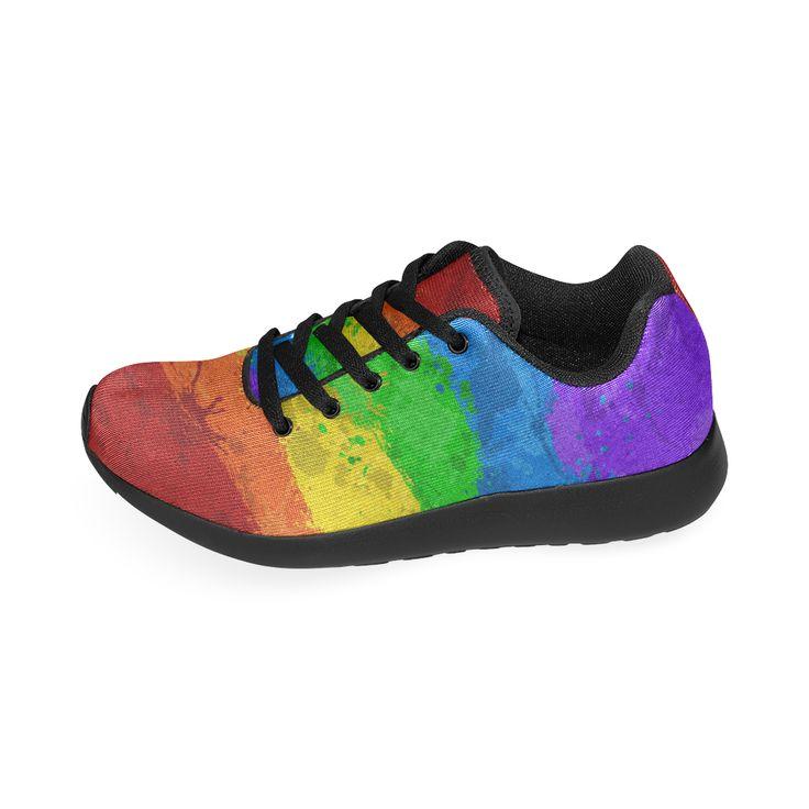 Rainbow Paint Splatter Flag Men's Running Shoes (Model 020