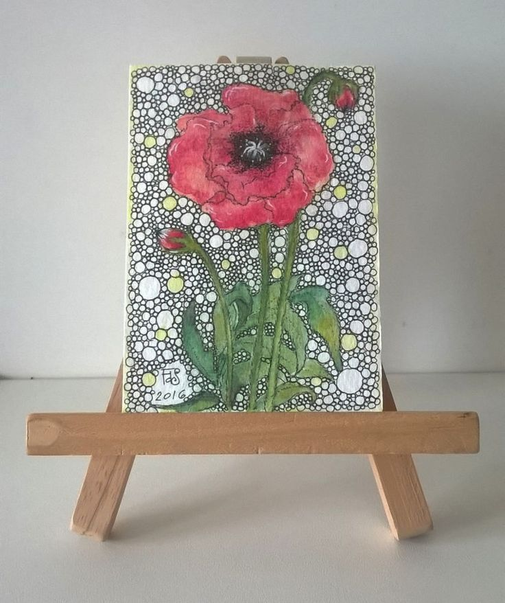 """""""Poppy"""" ACEO Original painting Poppy papaver red flower doodle art  #Abstract"""