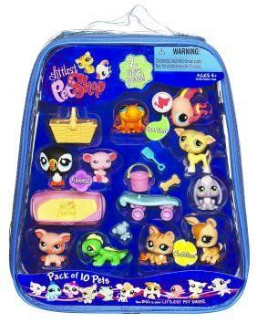 Littlest pet Shop 10 pack of Pets Assortment by Hasbro. $24.99. 10 new friends into your very own. Ten-pack of cute pets and accessories comes in a zippered tote for lots of take-along, pet-lovin? fun. Hours of ?purr-fectly? fabulous fun. Great addition to your LITTLEST PET SHOP collection. 10 bobble-head buddies come with cool accessories. From the Manufacturer                Welcome 10 new friends into your very own LITTLEST PET SHOP collection, where all your pet-...
