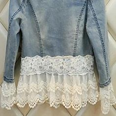 gola redonda pérolas do laço patchwork de manga comprida denim casaco curto magro novas mulheres | LightInTheBox