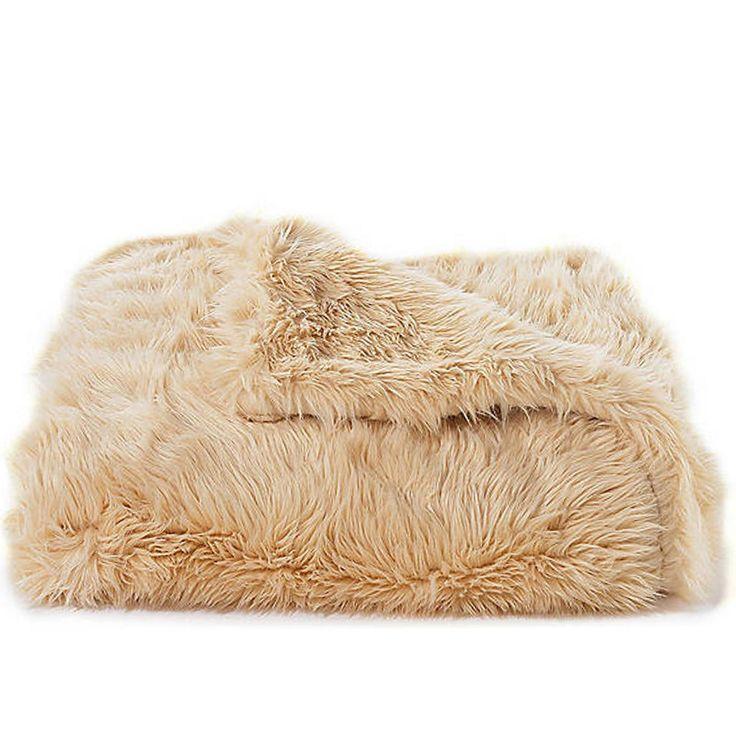 Australian Sheep Faux Fur Throw & Coverlet - Camel | Scenario Home