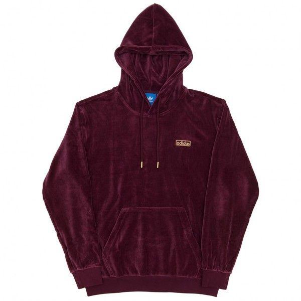 Hoodie Adidas ❤ liked on Polyvore featuring tops, hoodies, hooded pullover, kangaroo pocket hoodie, purple hoodies, purple hooded sweatshirt and velvet top