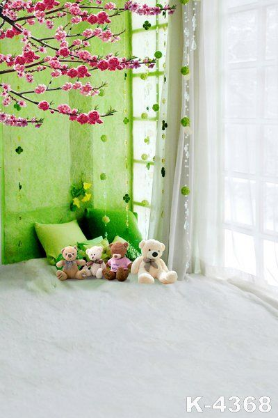 5x7ft Top Photography Background Green Elegant Curtain Children Baby Series Photo Studio Vinyl Printed Backdrops Bear Toy Props #Affiliate