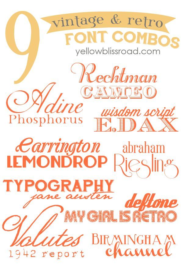 18 beautiful vintage  retro free fonts, paired into nine fabulous font combos!  ~~ {18 free fonts w/ easy download links}