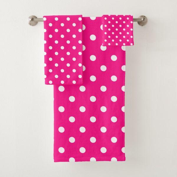 Pink Polka Dot Bath Towel Set Zazzle Com Patterned Bath Towels