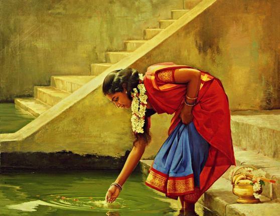 Tamil girl in Hindu Temple Pond - Painting by S. Elayaraja