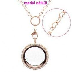 Rózsaarany színű szív szemes acél lánc 41+5 cm