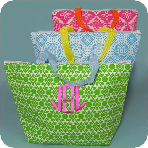 """Summer Bright Printed Thermal Insulated Totes  These bright summer thermal totes are insulated and ultra lightweight yet large enough to carry a family sized snack or lunch to the pool. Easy to embroider and makes a wonderful gift. Measures 14.5"""" x 10"""" Made from a unique PVC coated fabric that is ultra lightweight, but sturdy. Thermal Insulation"""