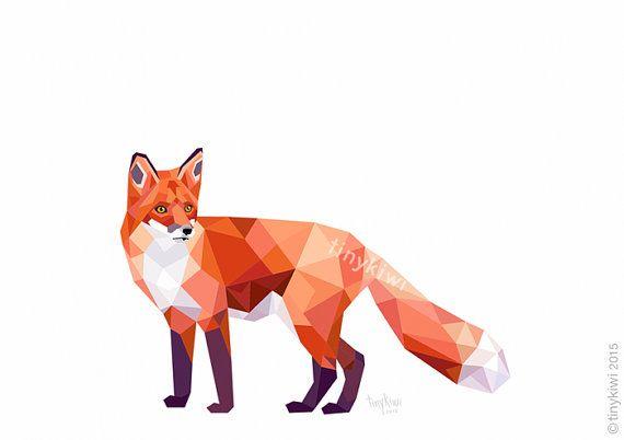 Geometric fox Fox print Fox art Forest animals von tinykiwiPrints
