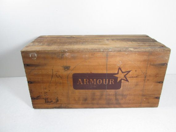Armour Wooden Crate Corned Beef Uruguay by GirlPickers on Etsy, $24.00