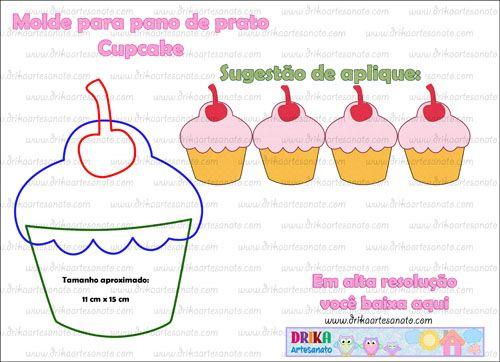 Molde para pano de prato: Cupcake para patch aplique