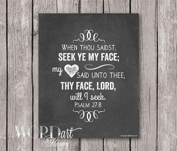 Psalm 27:8 KJV Scripture Chalkboard Printable Art