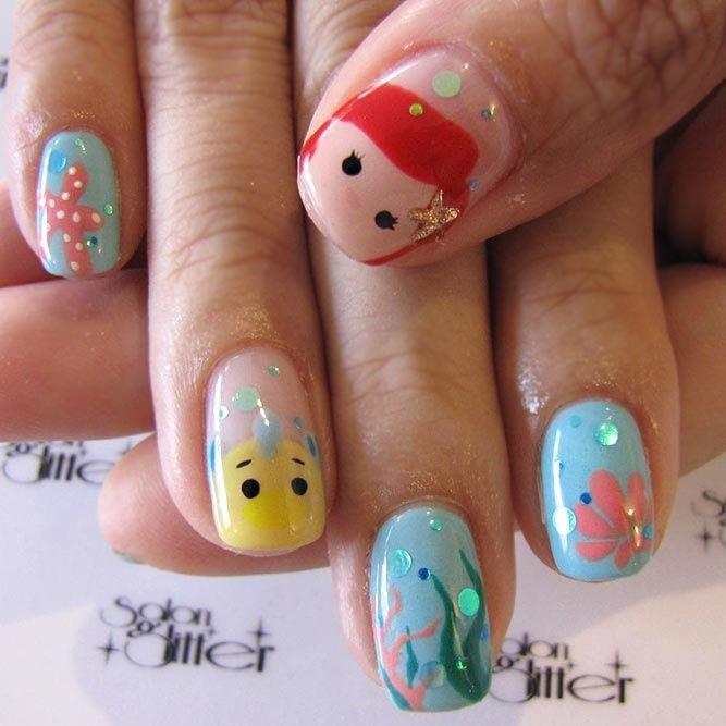 Little Mermaid Nails #mermaidnails#princessnailsdesign ❤️ Simple and easy ac…