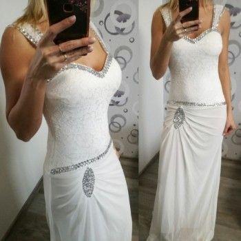 Dlouhé společenské šaty bílé