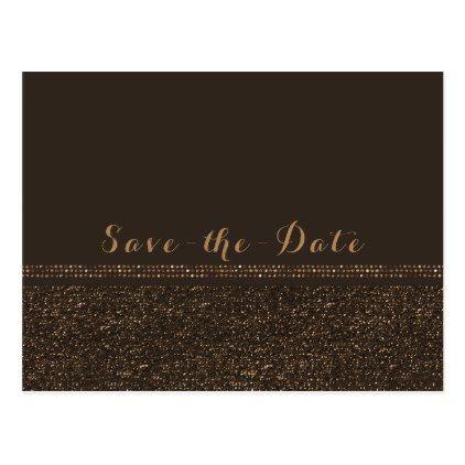 #savethedate #postcards - #Bronze Brown Chic Sparkling Glam Save the Date Postcard