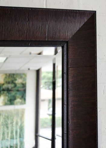 Thick border brown framed mirror.  Resource for large mirrors.