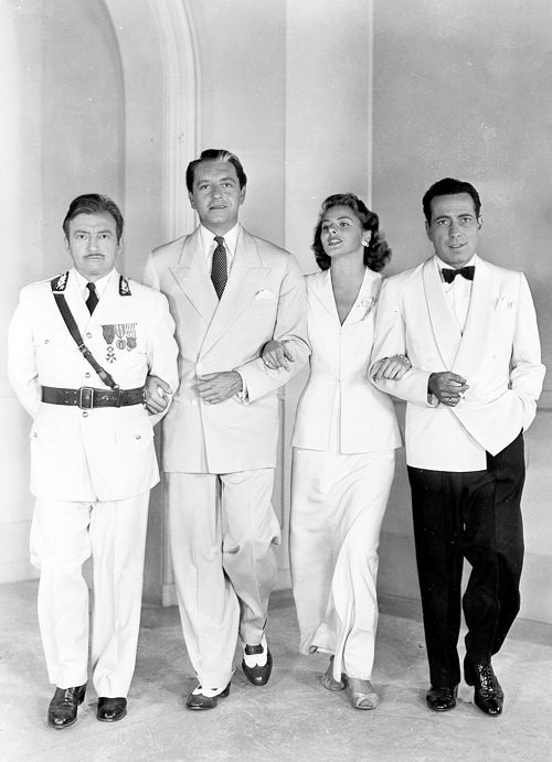 Claude Rains, Paul Henreid, Ingrid Bergman, and Humphrey Bogart in a publicity photograph for Casablanca