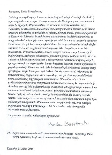 Serwis informacyjny UM Rzeszów - Listy od Mieszkańców