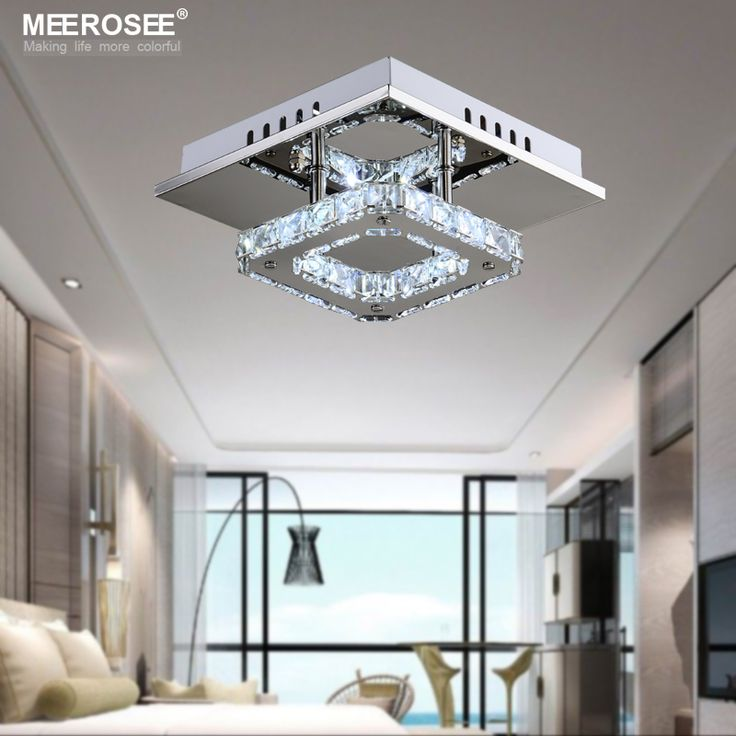 Persegi LED Kristal Chandelier Cahaya untuk Teras Lorong Lorong Tangga wth DIPIMPIN Bola Lampu 12 Watt 100% Jaminan