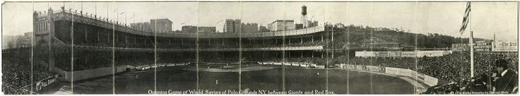 Opening Game of the World Series at Polo Grounds, N.Y. between Giants and Red Sox, 1912. Foldout panoramic photograph, by Globe Novelty Co. New-York Historical Society, 82955d.