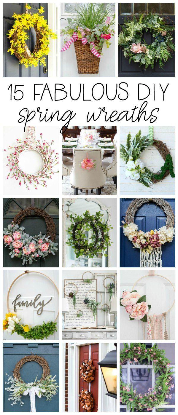 15 Fabulous DIY Spring Wreaths for your home!. Front Door, kitchen, entryway, dining chairs. #diy #tutorial #spring #wreath #door #decor #diydecor