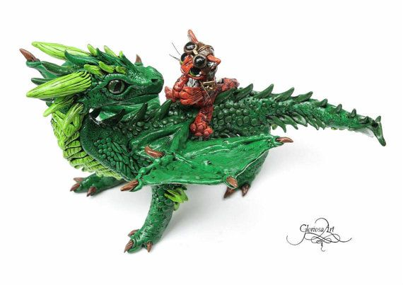 BestFriends - Dragon kitty sculpture - Dragon cat fantasy sculpture - polymer clay - dragon figure- baby cat dragon - OOAK dragon. by GloriosaArt