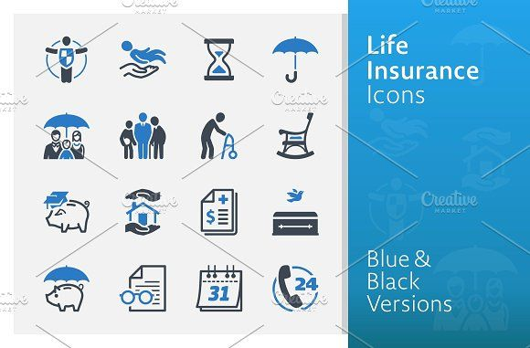 Life Insurance Icons Blue Series Graphic Design Brochure
