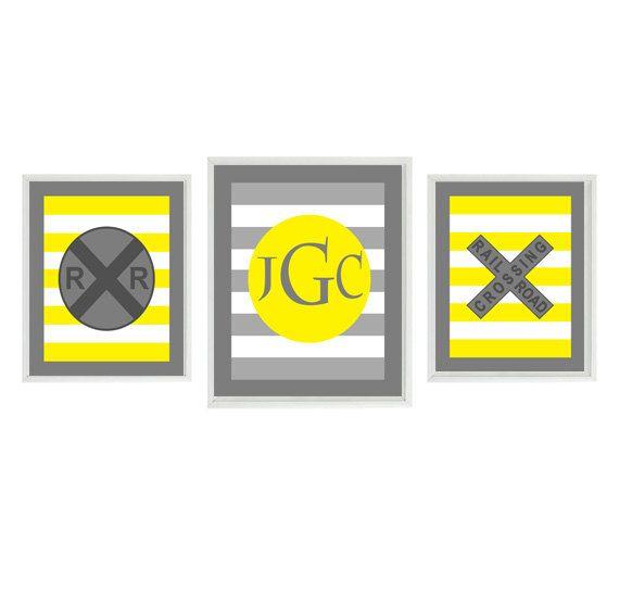 Train Nursery Art Monogram Print Set Yellow Gray Decor Personalize Boy Room Initials Wall Art Home Decor Set