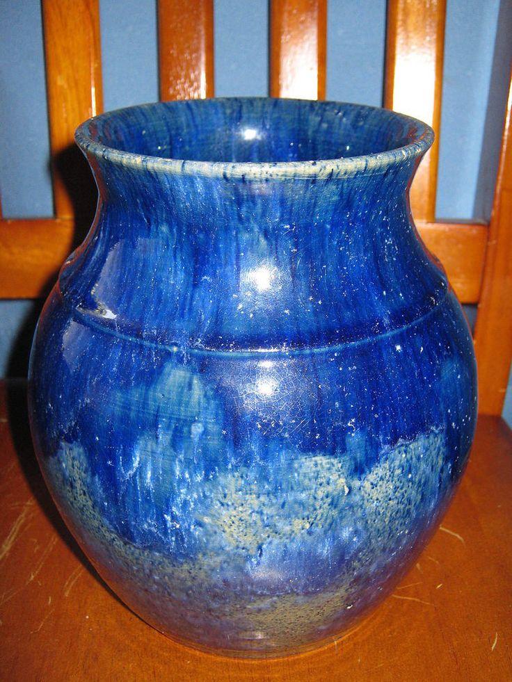 17cm 13cm Large Unsigned John Campbell Pottery Vase/Pot - Dark Blue Glaze - Antique - #2