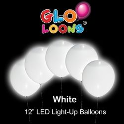 "12"" Glo-Loons (5 pack White)  Light up your next party with these fantastic Assorted Color Glow Balloons."
