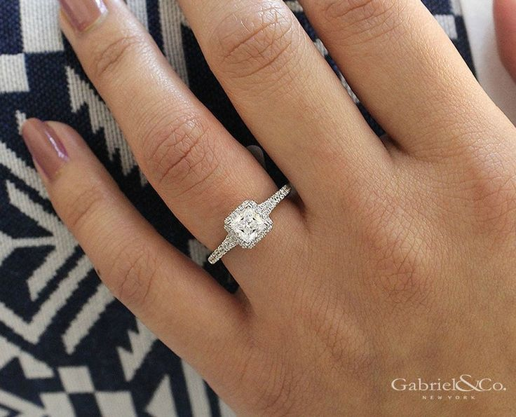 Gabriel & Co. - 14k White Gold Princess Cut Halo  Engagement Ring