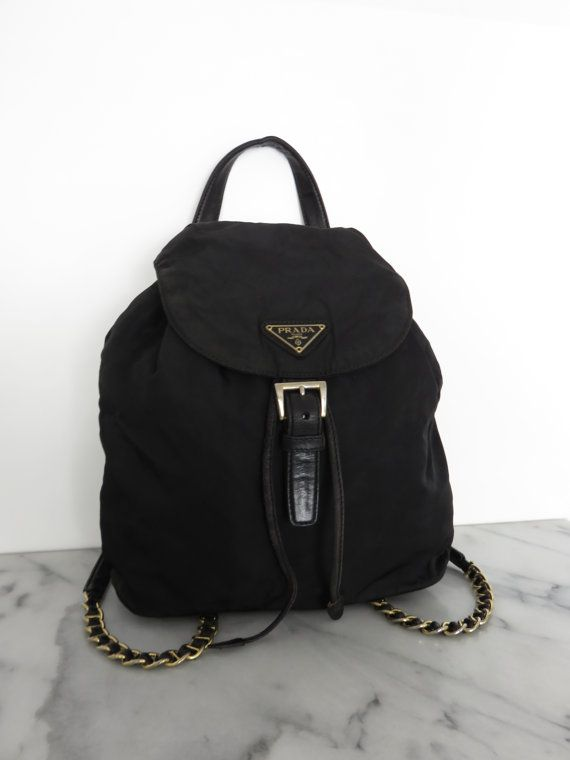 555069220748f0 PRADA Backpack Gold Chain Mini Black Nylon Leather Details Vintage 1980s |  COTIVE - Vintage Clothing & Accessories | Prada backpack, Gold backpacks,  ...